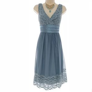 Size 12▪️BLUE-GRAY SPARKLY LACE MESH DRESS Holiday